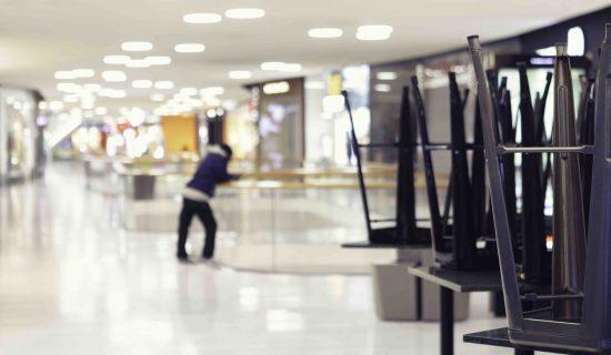 An empty shopping mall during the corona virus crisis.